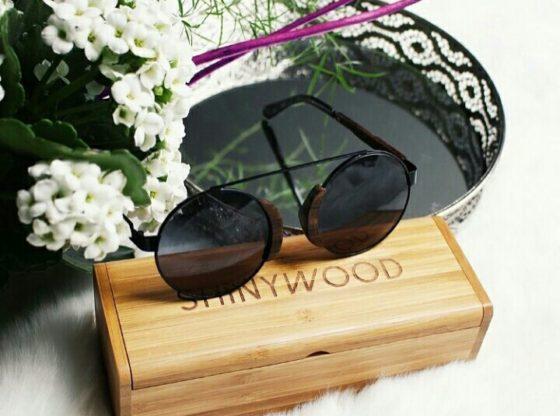Lunettes de soleil en bois ShinyWood - lunettes rondes modèle Vienne